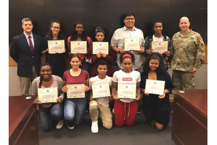 USAG Daegu presents certificates of appreciation to summer hire student employees