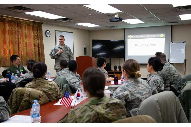 U.S. Air Force Chief Master Sgt. Roy Hensley, superintendent with the 51st Logistics Readiness Squadron, teaches the first Flight Commander's Course at Osan Air Base, Republic of Korea, Jan. 28, 2019. The course is designed for flight commanders to maximize Airman leadership and development and lay a foundation for their career growth. (U.S. Air Force photo by Staff Sgt. Benjamin Raughton)