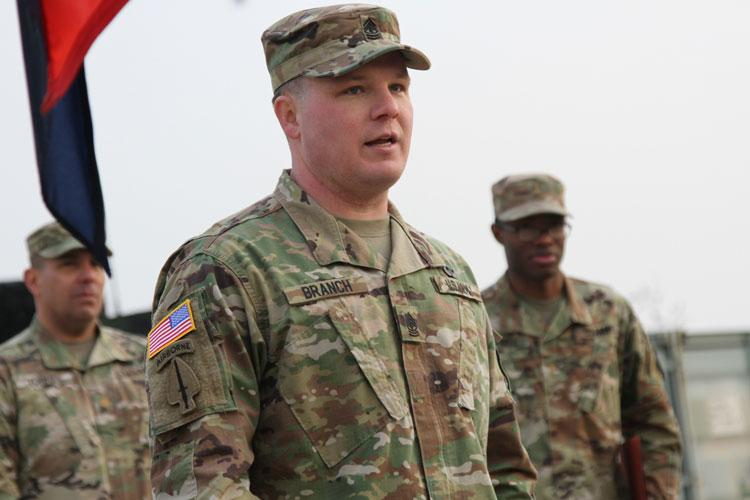 U.S. Army 1st Sgt. William Branch, Human Resources Co., Headquarters and Headquarters Battalion, 2nd Infantry Division, speaks to the battalion just after his frocking ceremony Jan. 11, 2019 on Camp Humphreys, Republic of Korea. Frocking is the practice of commissioned and noncommissioned officers wearing the insignia of the higher grade before the official date of promotion. (U.S. Army photo by Pfc. Edwin Petzke, 20th Public Affairs Detachment)