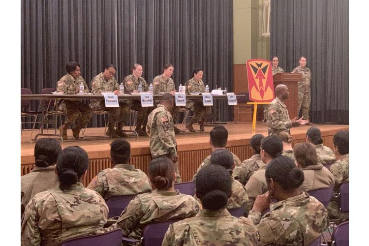 Guardian Battalion Commander, Lt. Col. Geoffrey Cole, and Command Sgt. Maj., Aaron Wheeler, highlight the importance of the Female Mentorship program and event. (Photo by Staff Sgt. Todd Pouliot)