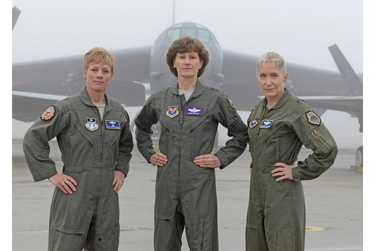 From left to right: Brig. Gen. Kristin Goodwin, U.S. Air Force Academy commandant of cadets, Maj. Gen. Dawn Dunlop, Office of the Secretary of Defense Special Access Programs director, and Brig. Gen. Jeannie Leavitt, Air Force Recruiting Service commander, pose for a photo at Edwards Air Force Base, Calif., Feb. 1, 2019. The generals were accompanied by more than 80 fellow female Airmen to film an Air Force Recruiting Service television commercial. (U.S. Air Force photo by Kenji Thuloweit)