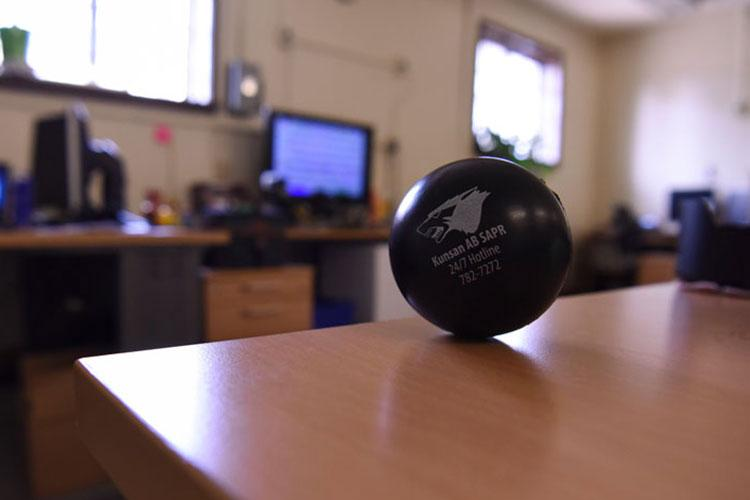 A Sexual Assault Prevention and Response stress ball sits in an office at Kunsan Air Base, Republic of Korea, April 8, 2019. The U.S. Air Force recognizes April as Sexual Assault Awareness and Prevention Month. (U.S. Air Force photo illustration by Senior Airman Savannah L. Waters)