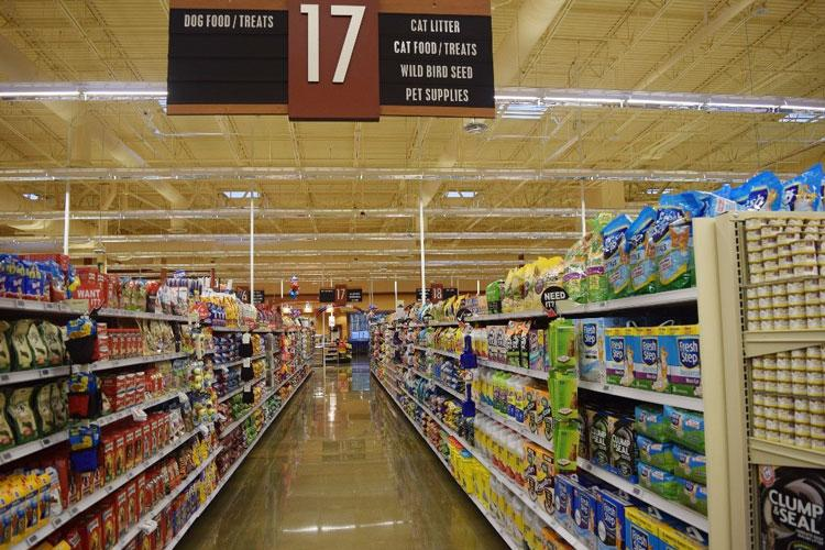 Pet product aisles like this one at the Fort Belvoir, Virginia, Commissary, offer customers significant savings on pet food and supplies. (DeCA photo: Kevin Robinson)