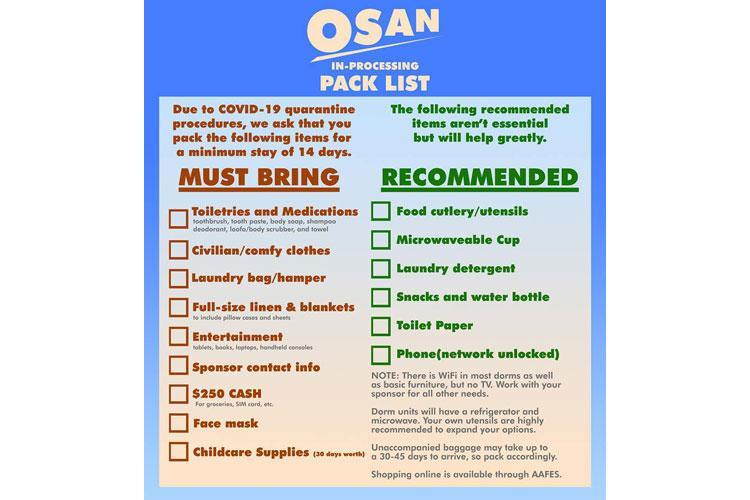 Osan quarantine packing list. (U.S. Air Force graphic by Staff Sgt. Benjamin Bugenig)