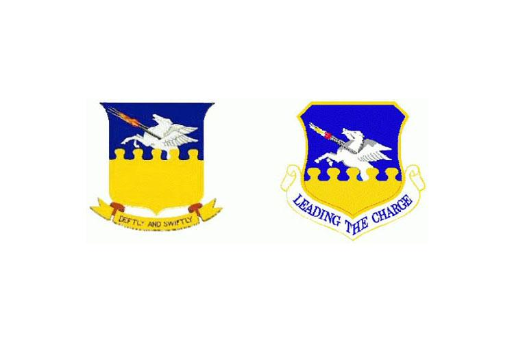 """Channeling their inspiration from the 51st Fighter Group's World War II era and the P-51 Mustang aircraft heritage, the 51st Fighter Wing embraced the Greek mythology themed, winged Pegasus firing machine guns in flight. On the original emblem, words """"Deftly and Swiftly,"""" were below the shield as the wing's motto. For today's emblem, the words are replaced with the 51st Fighter Wing's """"Leading the Charge"""" slogan and was approved on June 1, 1993. It has since remained unchanged. (Courtesy asset)"""
