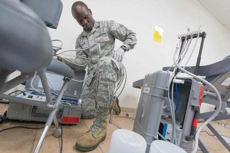 Airman 1st Class Geoffrey Elungata takes part in a joint service exercise in Sikeston, Mo., June 22, 2019, that provided training for servicemembers and care to the local community. A new Air Force system of delivering medical care that was found in a test run in 2018 to significantly reduce the number of active-duty airmen who are non-mission capable is being rolled out nationwide.