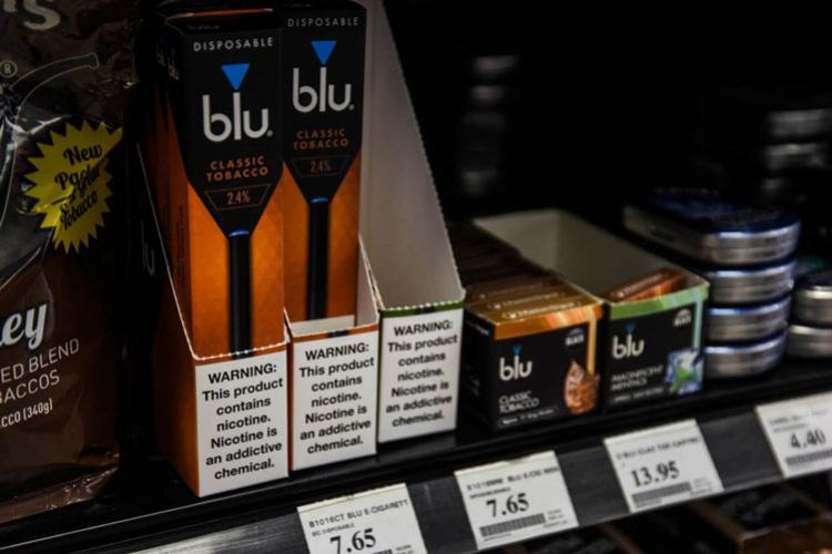 The Army and Air Force Exchange Service plans to pull electronic cigarettes and vape products from stores shelves by close of business on Monday, Sept. 30, 2019. THERON GODBOLD/STARS AND STRIPES
