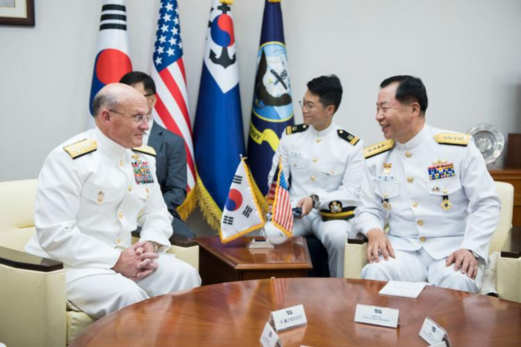 SEOUL (Sept. 25, 2019) Chief of Naval Operations (CNO) Adm. Mike Gilday meets with Republic of Korea (ROK) Chief of Naval Operations Adm. Sim Seung-Seob during a visit to the ROK Ministry of Defense. The leaders discussed a range of ROK-U.S. Alliance topics and emphasized the need to train and operate together in support of regional peace and security. (U.S. Navy photo by Mass Communication Specialist 1st Class Raymond D. Diaz III/Released)