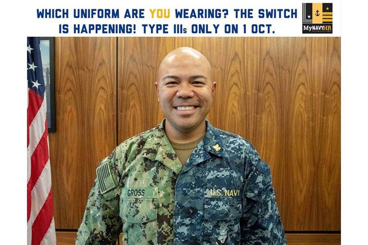 In an image from the Navy's Chief of Naval Personnel Facebook page, a sailor poses in both Type I and III Navy working uniforms. The Type 1 uniform, informally dubbed a blueberry, will no longer be authorized for wear starting October 1, 2019. (FACEBOOK)