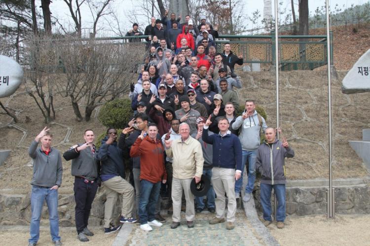 Soldiers assigned to 2nd Infantry Division Sustainment Brigade pose for a picture during a staff ride event March 6, 2019, ChipYong-Ni, Republic of Korea. A staff ride helps senior noncommissioned officers and officers develop more as a leader through historical study of battle. (U.S. Army photo by Pfc. Edwin Petzke, 20th Public Affairs Detachment)
