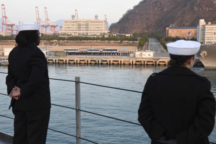 BUSAN, Republic of Korea (Feb . 5, 2020) - Sailors man the rails as U.S. 7th Fleet Flagship USS Blue Ridge (LCC 19) arrives in the Republic of Korea for a regularly scheduled port visit. Blue Ridge is the oldest operational ship in the Navy and, as 7th Fleet command ship, actively works to foster relationships with allies and partners in the Indo-Pacific Region. (U.S. Navy photo by Mass Communication Specialist Seaman Matt Hall)