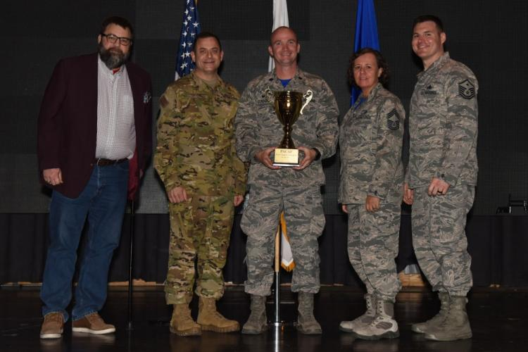 The 51st Force Support Squadron was presented the 2018 Pacific Air Forces FSS of the year award at Osan Air Base, Republic of Korea, April 5, 2019. The squadron received the award for their impact on quality of life for all service members, DoD civilians and their families at Osan. (U.S. Air Force photo by Staff Sgt. Sergio A. Gamboa)