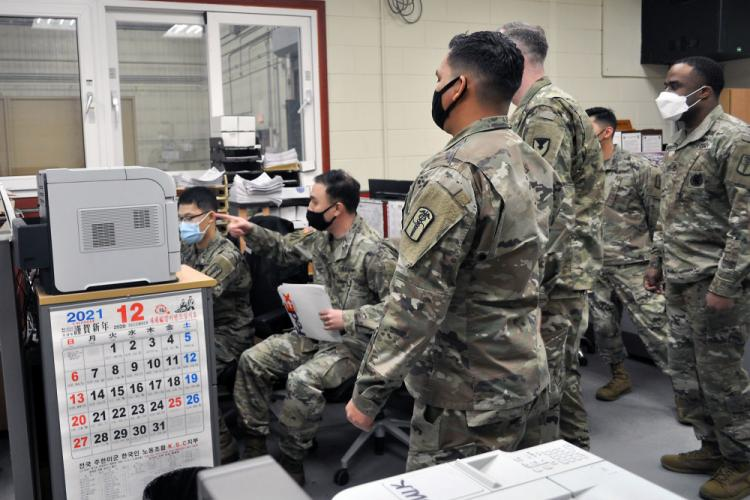 Soldiers at the U.S. Army Medical Materiel Center-Korea track incoming shipments of COVID-19 vaccine in support of U.S. Forces Korea vaccination efforts. (U.S. Army photo courtesy Lt. Col. Marcus D. Perkins)
