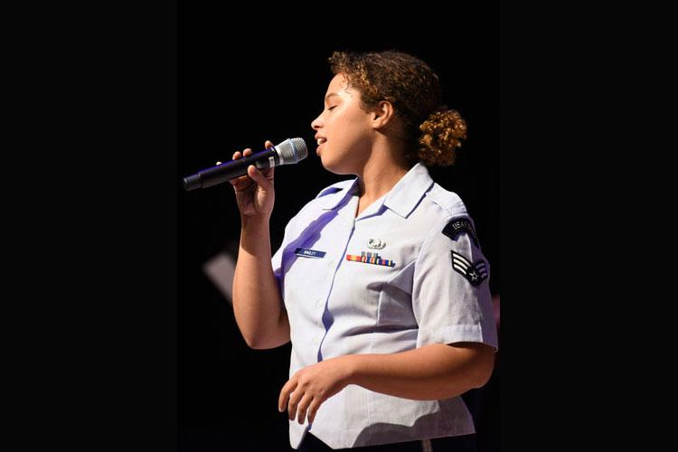 U.S. Air Force Senior Airman Christina Bagley, U.S. Air Force Band of the Pacific vocalist, sings for the Gunsan City's Chamber of Commerce at the Dongwoo Concert Hall in Gunsan City, Republic of Korea, Sept. 26, 2019. The band played for over 200 chamber of commerce members with their families and perform for around 125,000 people every year. (U.S. Air Force photo by Staff Sgt. Anthony Hetlage)