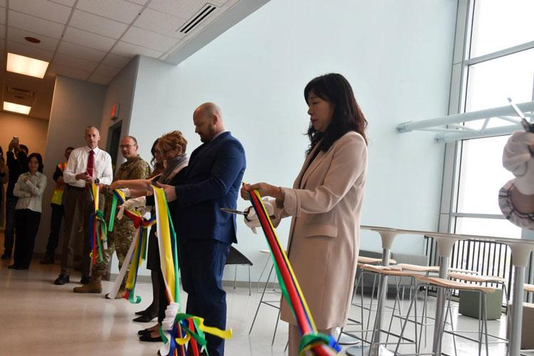 A ribbon cutting was held at the U.S. Army Corps of Engineers (USACE), Far East District (FED), headquarters to commemorate the completion of the district's USACE Leadership Development Program (ULDP) II cohort capstone project, Camp Humphreys, South Korea, Oct. 8, 2019. (Photos by Antwaun J. Parrish)