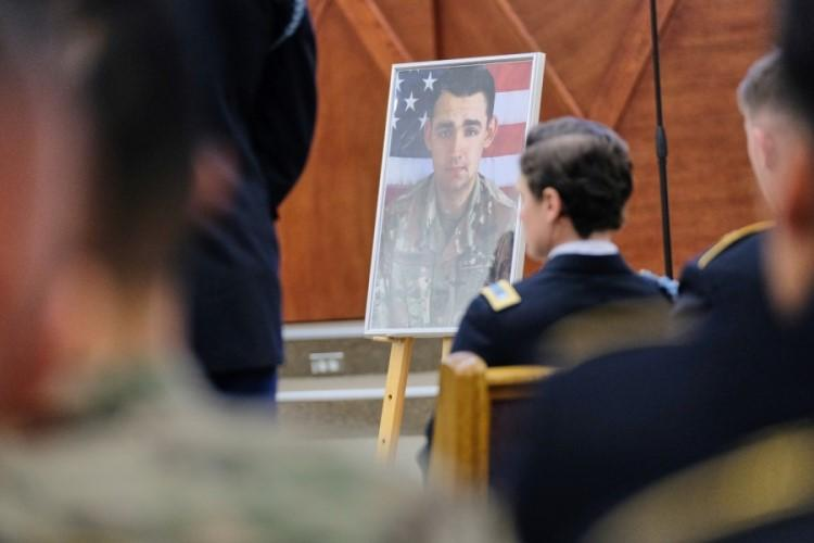 A photo of Spc. Nicholas Panipinto is displayed during a memorial service inside the Warrior Chapel at Camp Humphreys, South Korea, Friday, Nov. 15, 2019. (MATTHEW KEELER/STARS AND STRIPES)