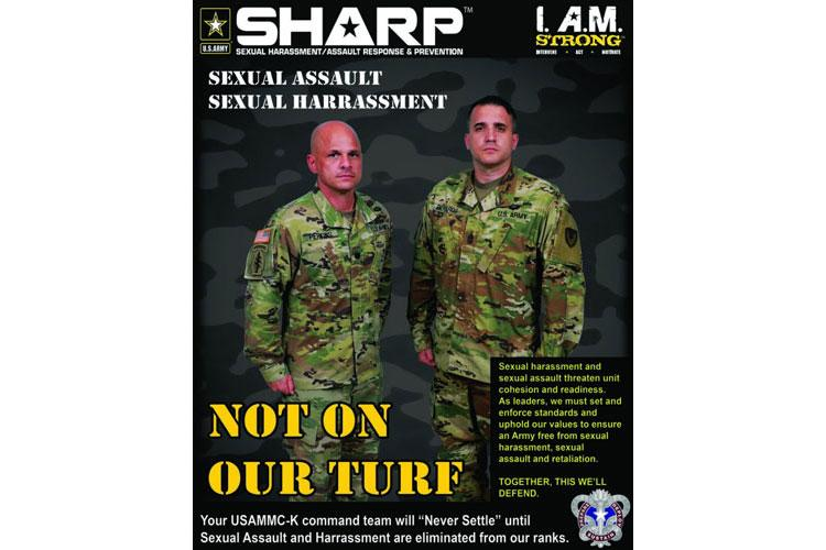 Lt. Col. Marcus D. Perkins, left, commander of the U.S. Army Medical Materiel Center-Korea, and Sgt. Maj. Blair Richards are pictured on one of the organization's SHARP posters, which are displayed around the center to promote the Army's SHARP program. (Photo By C.J. Lovelace)
