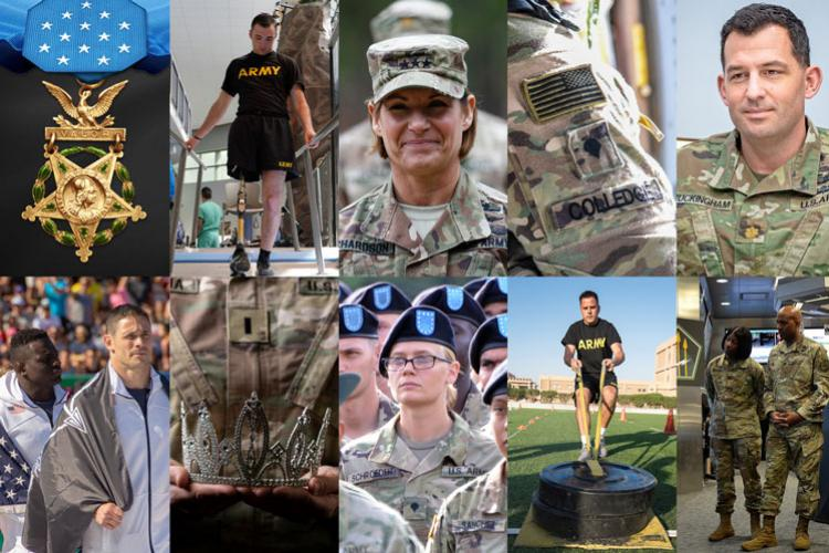 Over the past year, three Soldiers were recognized for their amazing acts of heroism during operations in Iraq and Afghanistan. A handful of Soldiers revealed their fitness potential, either by maxing the Army Combat Fitness Test or by participating in one of the largest fitness competitions around the globe. One Colorado-based Soldier walked away with a pageant crown, while another Soldier was promoted to his 16th rank in 35 years. (Photo Credit: Illustration by Devon Suits)