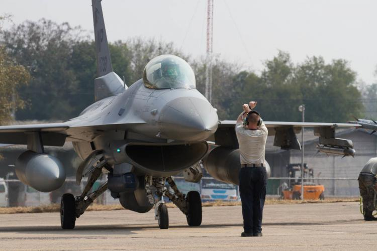An F-16 Fighting Falcon assigned to the 35th Fighter Squadron, Kunsan Air Base, South Korea, arrives in preparation for Exercise Cobra Gold 2019 at Korat Royal Thai Air Force Base, Thailand, Feb. 6, 2019. Cobra Gold provides a venue for U.S. and partner nations to advance interoperability and increase partner capacity in planning and executing complex and realistic multinational force and combined task force operations. (U.S. Army photo by Spc. Valencia McNeal)