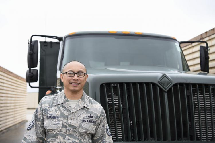 U.S. Air Force Senior Master Sgt. Francis A. Quiambao, 8th Logistics Readiness Squadron fuels management flight superintendent, poses next to a fuel truck on Kunsan Air Base, Republic of Korea, April 24, 2019. Quiambao is responsible for leading the largest petroleum hub in the United States Forces Korea in receiving and distributing fuel, which accounts for 35 percent of the fuel consumed in the theater. (U.S. Air Force photo by Senior Airman Savannah L. Waters)