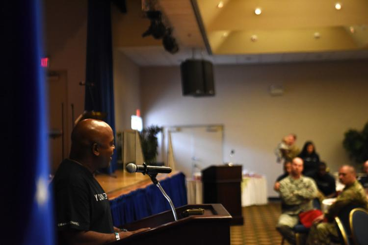 U.S. Air Force Chaplain (Lt. Col.) Dwayne Jones, 51st Fighter Wing Chaplain Corps, delivers his Grit message to more than 180 attendees at Osan Air Base, Republic of Korea, Sept. 26, 2019. This was the second time the Grit Program was held since it was established by Jones, once here and once at his previous assignment. The program not only acknowledges resiliency, but the way we can use internal and external resources to be more resilient. (U.S. Air Force photo by Staff Sgt. Benjamin Bugenig)
