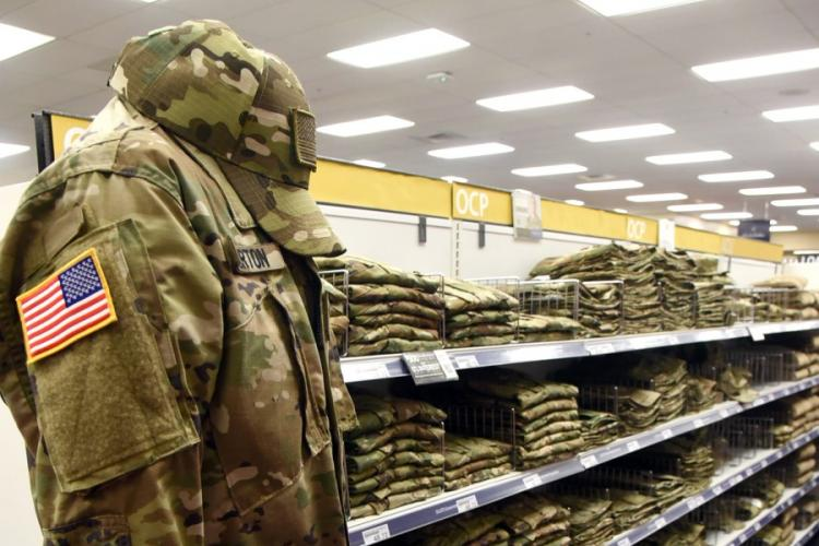 Operational Camouflage Pattern uniforms are offered for sale inside a military clothing store at Tinker Air Force Base, Okla., in August 2019. KELLY WHITE/U.S. AIR FORCE