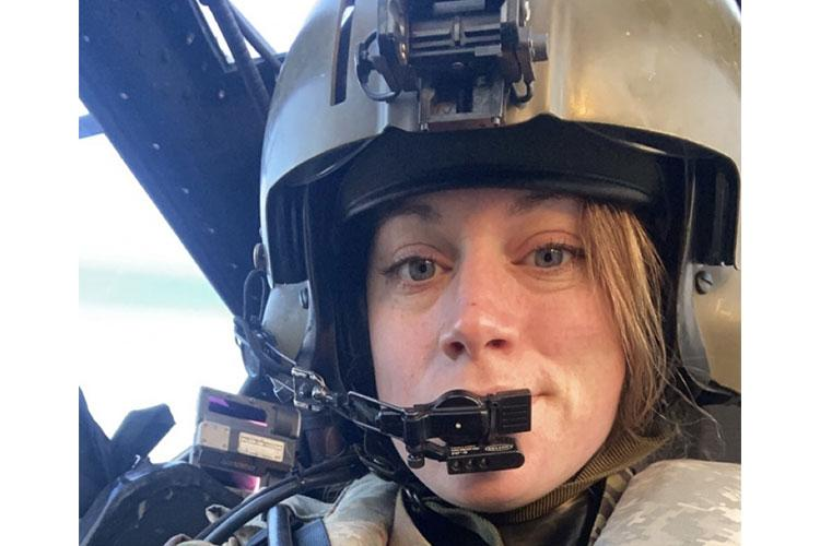 CAMP HUMPHREYS, Republic of Korea -- Capt. Abigail Blount, an AH-64 Apache pilot with 602nd Aviation Support Battalion, 2nd Combat Aviation Brigade, 2nd Infantry Division, prepares for a flight at the Super Hangar on Camp Humphreys. (Courtesy photo of Capt. Abigail Blount)