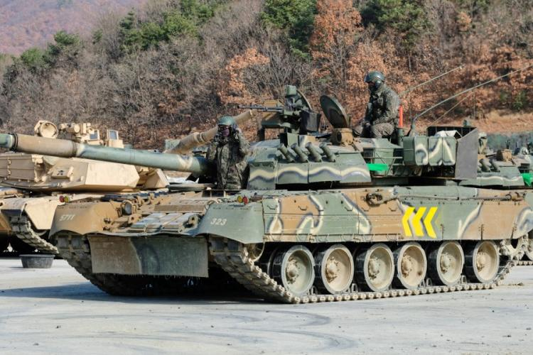 South Korean soldiers repare a T-80U battle tank for an exercise at Rodriguez Live Fire Range in Pocheon, South Korea, Tuesday, Nov. 19, 2019. MATTHEW KEELER/STARS AND STRIPES