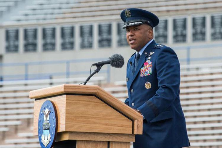 Lt. Gen. Richard M. Clark, the new superintendent of the U.S. Air Force Academy, speaks during the change of command ceremony in Falcon Stadium, where he became the school's top officer, Sept. 23, 2020. (U.S. Air Force photo by Trevor Cokley)