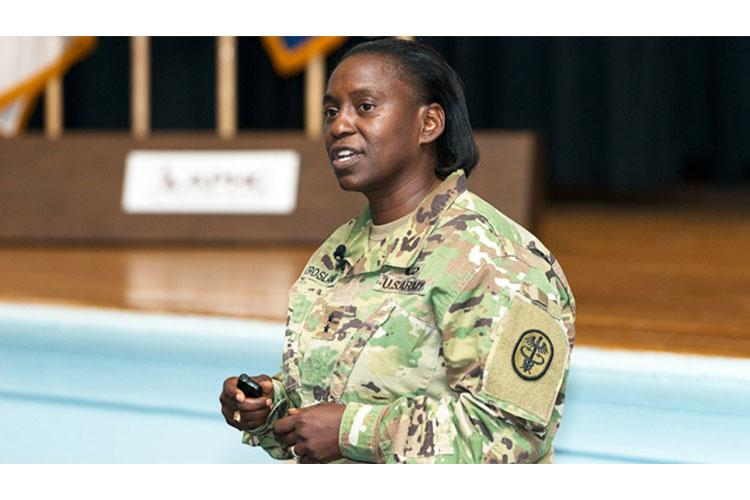 Army Maj. Gen. Telita Crosland, deputy commanding general for operations at the U.S. Army Medical Command, addresses Department of Defense public health professionals during the plenary session of the fourth annual Army Public Health Course at Joint Base McGuire Dix Lakehurst, New Jersey. (Photo by Graham Snodgrass, Army Public Health Center)