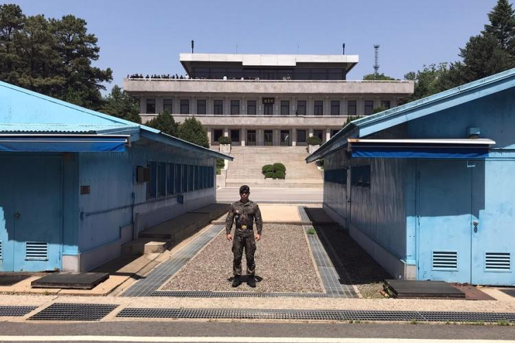 A South Korean soldier stands guard during a tour of the Joint Security Area on the border with North Korea in May 2019. AARON KIDD/STARS AND STRIPES