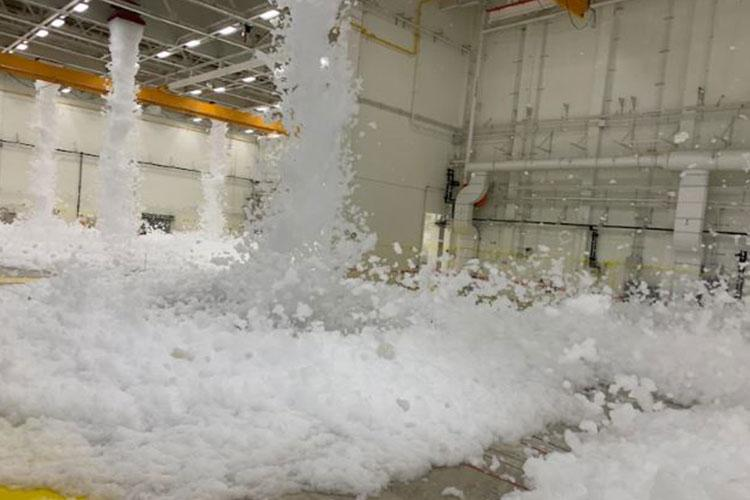 The Far East District engineer team passed a major milestone in the construction of project AV051 CY16 ROKFC In-Kind, A05R507, 3rd Military Intelligence Aircraft Maintenance Hangar Complex, by successfully completing a High Expansion Foam Dump test in the largest U.S. Army hangar overseas at USAG Humphreys, Pyeongtaek, Republic of Korea, Jun. 3. The District is well on their way to a building turnover to the 3rd Military Intelligence Battalion, based at USAG Humphreys.