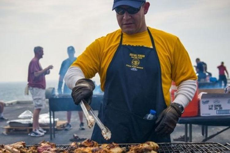 Make sure your grilling temperatures cook food properly. Use a thermometer to determine if safe temperatures are reached for grilled foods. Keep cold foods cold and hot foods hot (Photo by: Scott Fenaroli, USS Carl Vinson).