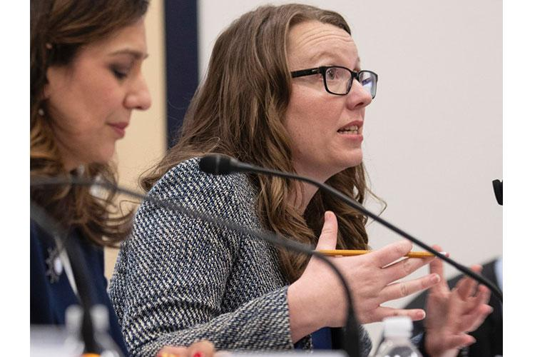 Austin Carrigg, an advocate for special needs military family members, testifies at a House hearing on the Exceptional Family Member Program, Feb. 5, 2020 on Capitol Hill. At left is Michelle Norman. JOE GROMELSKI/STARS AND STRIPES