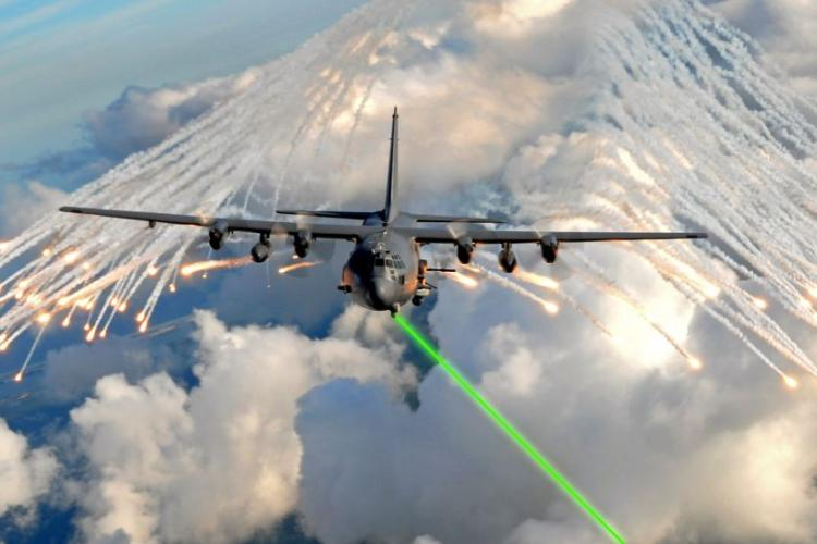 The Air Force aims to install laser-based defense systems on planes by 2021, similar to this illustration. During a series of tests at White Sands Missile Range, N.M., April 23, 2019, the Demonstrator Laser Weapon System, acting as a ground-based test surrogate for the Self-Protect High Energy Laser Demonstrator system, shot down several air-launched missiles in flight. ILLUSTRATION BASED ON U.S. AIR FORCE PHOTO/JULIANNE SHOWALTER