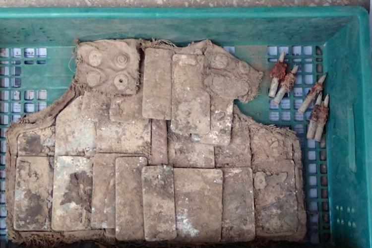 Body armor that apparently belonged to an American soldier during the Korean War was found at a site in the DMZ during a search in spring 2019. COURTESY SOUTH KOREAN DEFENSE MINISTRY
