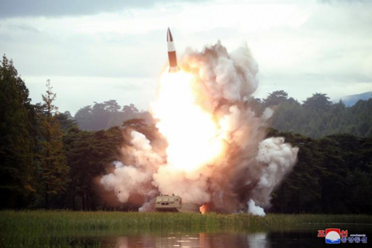 This undated photo, released by the state-run Korean Central News Agency on Aug. 17, 2019, shows the test-firing of a 'new weapon,' according to KCNA. KCNA