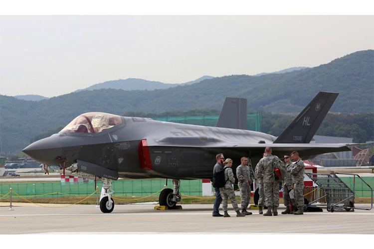 A U.S. F-35 stealth fighter is seen during the press day of the 2017 Seoul International Aerospace and Defense Exhibition at Seoul Airport in Seongnam, South Korea, Monday, Oct. 16, 2017. AHN YOUNG-JOON/AP