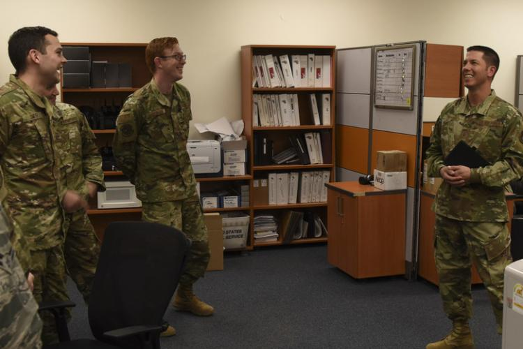(Right) U.S. Air Force Master Sgt. James Drybola, 8th Communications Squadron first sergeant, checks in with his Airmen to talk about morale, quality-of-life and more at Kunsan Air Base, Republic of Korea, Sep. 10, 2019. The positon of first sergeant is occupied by senior non-commissioned officers after completing the four-week First Sergeant Academy at Maxwell-Gunter AFB, Alabama. (U.S. Air Force photo by Staff Sgt. Joshua Edwards)