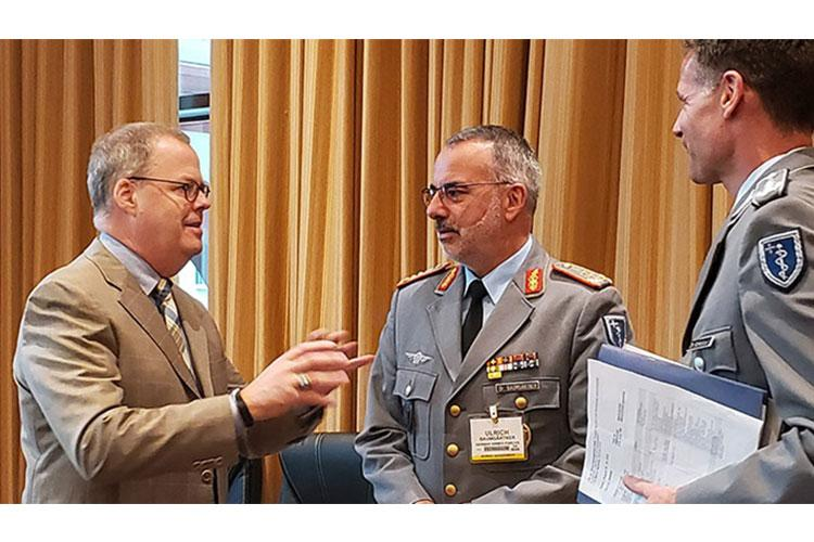 Foreign liaison officers fit into the U.S. National Defense Strategy as a way to reinforce partnerships with key allies. Col. Kai Schlolaut (far right), functions as a primary link between the German surgeon general LTG Dr. Ulrich Baumgärtner (center) and the U.S. Assistant Secretary of Defense for Health Affairs Thomas McCaffery. (Photo provided by Col. Kai Schlolaut)