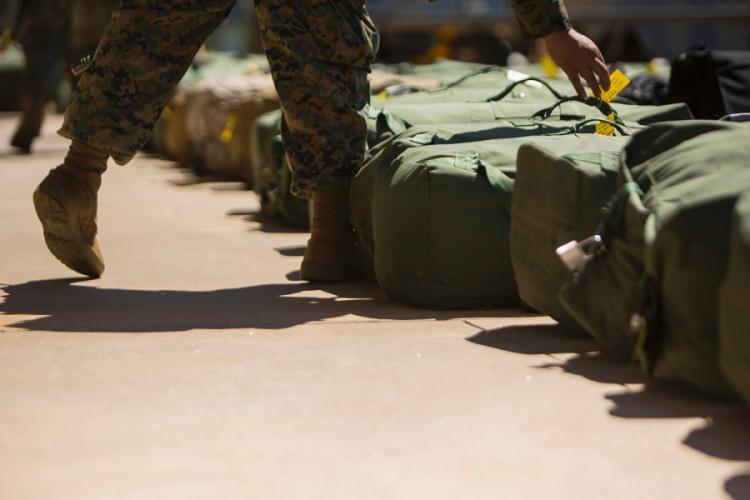 Marines arrive at a Royal Australian Air Force base in Darwin, Australia, for a rotation Down Under, April 12, 2019. JORDAN GILBERT/U.S. MARINE CORPS