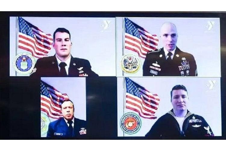 Four of the awardees participated remotely during the Angels of the Battlefield Awards ceremony held virtually in Washington, D.C this October. (DoD Courtesy Photo.)
