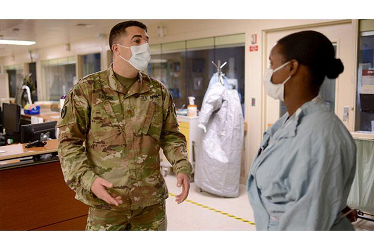 Nurses of all specialties have stepped up to improve and sustain readiness throughout the military. Army Maj. Alex Tatone (pictured), chief of Evans Army Community Hospital's Department of Inpatient Services at Fort Carson, Colorado, created a bed expansion plan that increased their number of critical-care beds from six to 22, and included training non-ICU nurses to support those beds. (U. S. Army photo by Jeanine Mezei, Fort Carson Public Affairs Office)