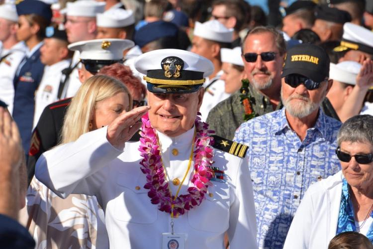 Lou Conter, 98, one of only three living survivors USS Arizona survivors, salutes during the Walk of Honor after a Dec. 7, 2019, ceremony at the Pearl Harbor National Memorial marking the surprise attack 78 years ago. WYATT OLSON/STARS AND STRIPES