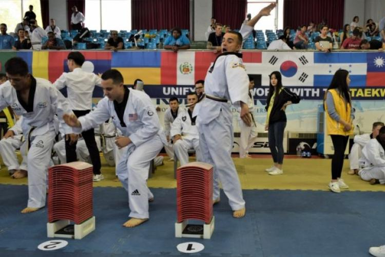 Spc. Omead Saney prepares to strike some boards at the 2019 Foreigners Taekwondo Culture Festival at Kukkiwon Taekwondo Headquarters in Gangnam, Seoul, South Korea, Sept. 28. Saney helped represent 2nd Infantry Division/Republic of Korea-U.S. Combined Division. (Photo Credit: Kenji Thuloweit)