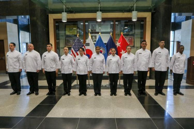 Join Eighth Army Commanding General, Lt. Gen. Michael A. Bills and Command Sgt. Maj. Jason Schmidt in congratulating the Eighth Army culinary team. Competition is fierce and this team put on an exceptional show to earn multiple awards, and 5th place as a team, during the 44th Annual Military Culinary Arts Competition that took place in Ft. Lee, VA. (Photo Credit: Sgt. John Stephens, Eighth Army Public Affairs)