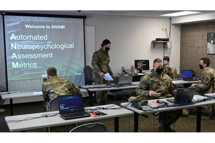 Air National Guard service members from the 119th Civil Engineer Squadron take a baseline neuro-cognitive assessment known as an Automated Neuropsychological Assessment Metric as part of their pre-deployment training at the North Dakota Air National Guard Base, Fargo North Dakota, Feb. 6, 2021. This assessment can be repeated and used by medical professionals in the event of a suspected traumatic brain injury or concussion (Photo by: Air National Guard Tech. Sgt. Nathanael Baardson).
