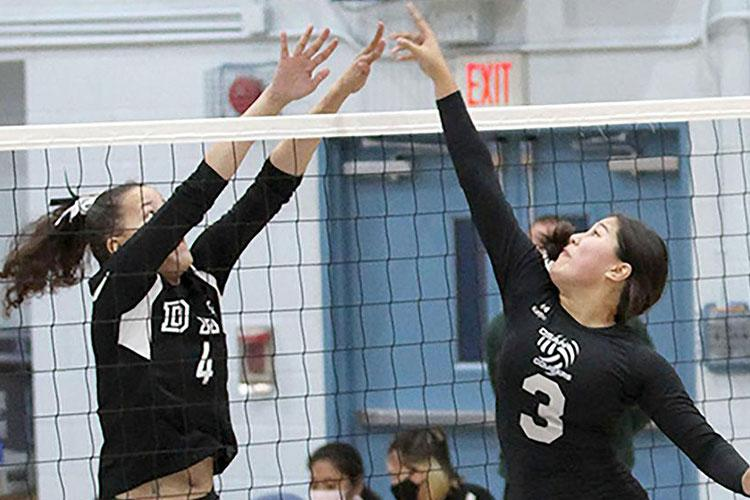 Daegu's Izzy Thurman and Osan's Angela Serrano are among players returning to DODEA-Korea girls volleyball teams that are veteran-heavy. (Jessica J. McCollum/Special to Stripes)
