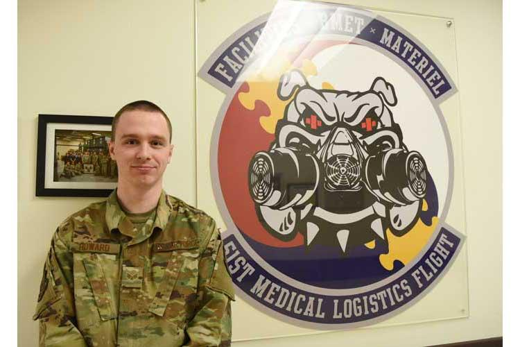 Senior Airman Nathan Howard, a biomedical equipment technician with the 51st Medical Support Squadron, poses for a photo at Osan Air Base, Republic of Korea, Feb. 5, 2019. Howard received the 2018 Air Mobility Command Air Force Medical Service Biomedical Equipment Technician of the Year at the Airman level. (U.S. Air Force photo by Airman 1st Class Ilyana A. Escalona)