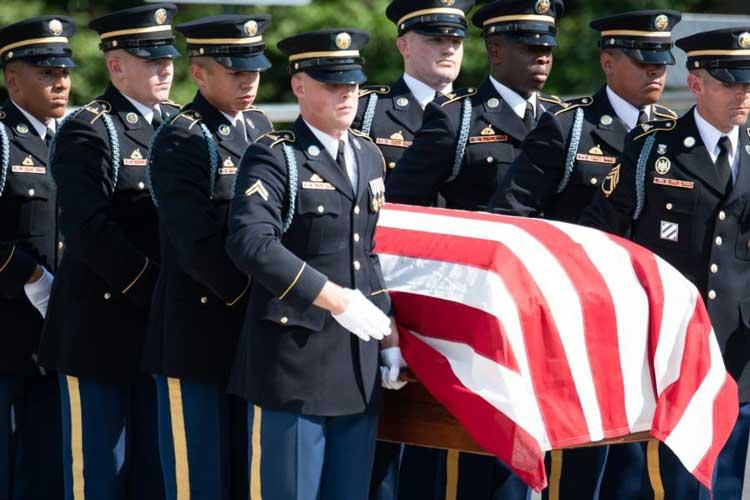 "Honor guard soldiers from the 3rd U.S. Infantry Regiment, ""The Old Guard,"" carry a casket bearing the remains of two unknown Civil War Union soldiers during a burial ceremony held at Arlington National Cemetery on Sept. 6, 2018. (MICHAEL S. DARNELL/STARS AND STRIPES)"
